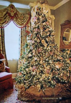 Victorian Christmas tree with ribbons, vintage ornaments and beads