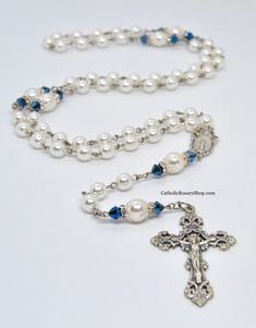 Excited to share this item from my shop: Swarovski White Pearl & Blue Catholic Rosary Beads Swarovski Crystal Beads, Swarovski Pearls, Rhinestones, Catholic Jewelry, Rosary Catholic, Decades Of The Rosary, First Communion Gifts, White Jewelry Box, Letter Beads