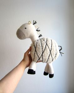 Zebra, organic, cuddly, animal, toy, plush, black, white, grey, monochrome, baby, shower gift, eco friendly
