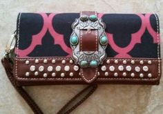 Red damask wristlet with antique silver and turquoise buckle