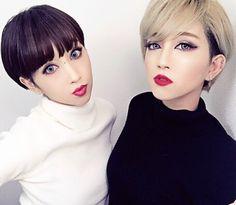 . . #Twins#veryshort#shorthair#fashion#instagood#instalike#instapic#ショートヘア#ショートカット#マッシュショート#ハイトーン#金髪#ベリーショート#刈り上げ女子#makeup#ニット