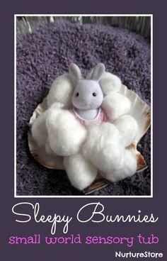 Sleepy bunnies small world sensory tub: relaxing, sensory and imaginary play with lavender rice