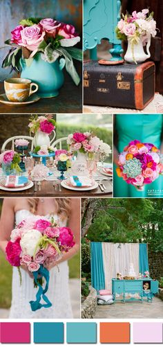 pink and turquoise vintage garden wedding ideas