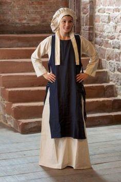 """2-teiliges Gewand """"Alisia"""" - 2 teilige Kombination für Mittelalter oder Larp bestehend aus einem beige/naturfarbenem Unterkleid und einem Überwurf aus Baumwolle. Der Überwurf ist seitlich offen, wird..."""