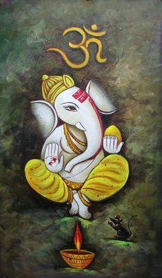 Ganesha Art 2 - Handpainted Art Painting - X Ganesh Lord, Shri Ganesh, Ganesha Art, Krishna Art, Hanuman, Lord Shiva, Durga, Ganesh Jayanti, Free Quilling Patterns