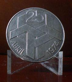 moeda prata 25 gramas 250 escudos revolucao cravos portugal