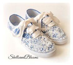 ab6393446ad0 Wedding Bridal Tennis Shoes Sneakers - Royal Blue - Organza or Satin Laces  - Rhinestone Pearls - vintage inspired - flat dancing