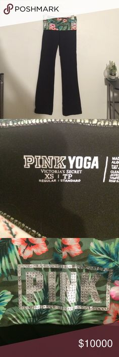 ***TRADE?*** PINK Floral Yoga Pants •very cute boot cut PINK yoga pants •basically brand new •I ordered this from another seller but i thought they were leggings, unfortunately they are also too long for me •beautiful pair, hate to rid of it but it doesn't suit me •size xs •I'm willing to trade for traditional PINK skinny sweats that can hug my legs or just ones with elastic on the bottom Victoria's Secret Pants Track Pants & Joggers