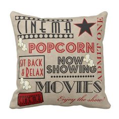 In media rm. Movie Theater Cinema Admit One Ticket Pillow-Red Personalized Inch Square Cotton Throw Pillow Case Decor Cushion Covers Pillowcase Theater Room Decor, Movie Theater Rooms, Home Theater, Movie Bedroom, Cinema Room, Cinema Movies, Red Throw Pillows, Throw Pillow Cases, Pillow Covers