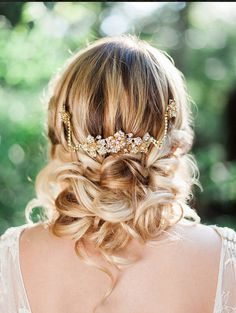 Gold Bridal hair comb headpiece halo by GildedShadows