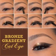 Metallic bronze gradient cat eye makeup tutorial with Urban Decay Naked palette and Stila Magnificent Metals Foil Finish eyeshadow in Comex Gold. Asian eye makeup.
