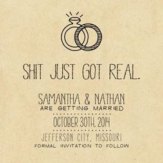 Hilarious save the date. Came across it on Etsy. I literally laughed out loud!