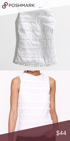 J. CREW  WHITE POM POM TOP So gorgeous and crisp looking! Pure white 100% cotton with white circular pom pom discs in horizontal bands throughout .. Unusual.. and can be dressed up or down. In excellent condition. J. Crew Tops
