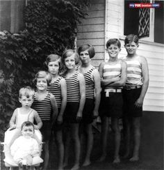 Kennedy family children portrait. Left to right: Jean, Bobby, Pat, Eunice, Kathleen, Rosemary, John, and Joe Jr.  Edward (Teddy) was not yet born.