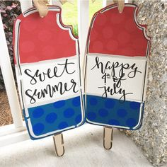 Ideas For Popsicle Door Hangers Wooden Door Hangers, Wooden Doors, Wooden Signs, July Crafts, Summer Crafts, Patriotic Crafts, Happy Fourth Of July, July 4th, Wood Cutouts