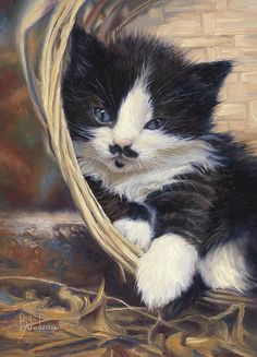 Cat Print featuring the painting Charlie by Lucie Bilodeau