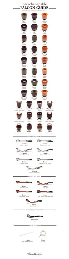 Choose your Falcon stem and bowls with this simple guide. #Smokeapipe #tobaccopipes