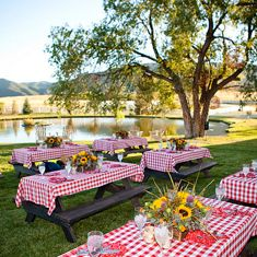 Crooked Willow Farms - The Venue - Larkspur, CO Anniversaire Cow-boy, Bbq Party Decorations, Birthday Party Centerpieces, Picnic Theme, Picnic Tables, Baby Q Shower, Country Picnic, Church Picnic, Barn Parties