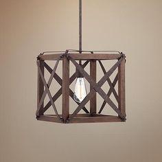"""Oaklyn 13""""W Industrial Rust Square Entry Pendant Light - #4F439   www.lampsplus.com"""