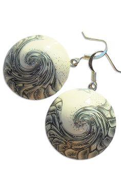 White silver earrings, Black white earrings, Gray earrings, Black white jewelry, White silver jewelry, Gray jewelry, White earrings, Swirl https://www.etsy.com/listing/521015943/white-silver-earrings-black-white