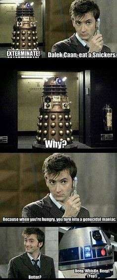 David Tennant of Doctor Who giving a hungry Dalek a Snickers bar LOL!!