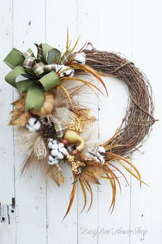 Rustic / Country FALL Wreath for Front Door, Fall Home Decor, Fall Wreath with Burlap and Cotton, Fall Grapevine Wreath, Autumn Wreath from Busy Bee Flower Shop Front Door Decor, Wreaths For Front Door, Front Porch, Fall Home Decor, Autumn Home, Autumn Wreaths, Christmas Wreaths, Country Fall, Country Decor