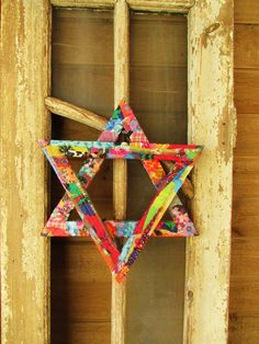 Star of David-magen david made of wood and fabric orgineli and different A…