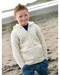Aran fisherman style hoodie for kids. 100% softest merino wool. Suitable for boys & girls.