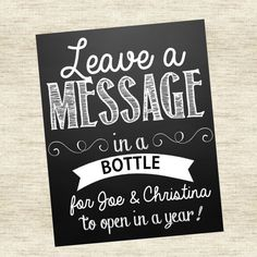 Leave a Message in a Bottle Wedding Sign by CMSDesignStudio