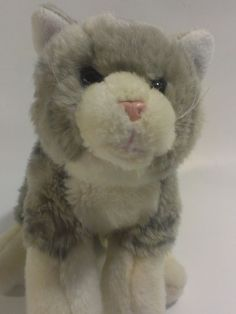 "Animal Alley Tabby Kitten Plush Grey White Striped Stuffed Animal Kitty Cat 9""  #AnimalAlley"