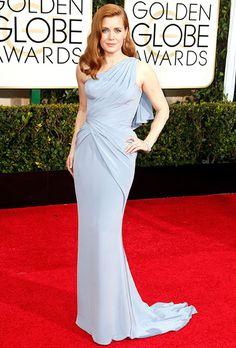 Amy Adams' powder blue one-shoulder Versace dress for the Golden Globes | Brides.com