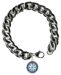 "Solomons 6th Moon for Causing Rain Steel 9"" Mens Bracelet 12mm Thick Curb Chain"