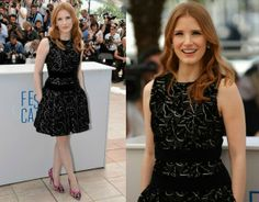 Jessica Chastain In Alexander McQueen-'The Disappearance Of Eleanor Rigby' Cannes Film Festival Photocall. Re-tweet and favorite it here: https://twitter.com/MyFashBlog/status/468477708125499392/photo/1