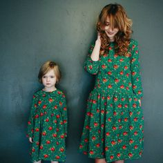 Matching Dresses  Mother and Daughter Matching Dresses  by OffOn (I have a fascination with red and green together that doesn't look Christmas :p I love this print!)