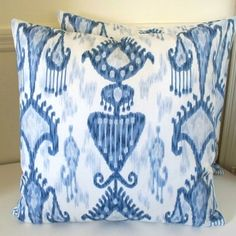 Indigo Blue Ikat Fabric | IKAT pillow cover Robert Allen designer fabric Indigo blue sofa ...