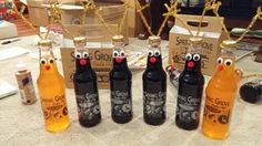 Easy DIY christmas gift! Beer or Pop bottles, pipecleaners, googly eyes, a red nose, and tacky glue!