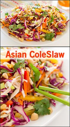 Asian Coleslaw www. Healthy Salad Recipes, Lunch Recipes, Dinner Recipes, Yummy Recipes, Dinner Ideas, Yummy Food, Top Recipes, Family Recipes, Appetizer Recipes