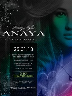 Anaya is turning up the heat this Friday! Dance the night away with music that ranges from House, RnB and Club classics! #london #anayafridays #VIP