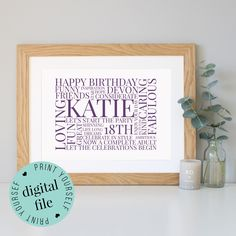 Personalised 18th BIRTHDAY GIFT - Word Art - Framed Print - Printable - 18th Birthday Gift Girl - 18th Birthday Gift Boy - Digital File