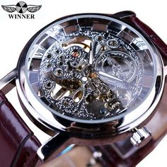 d9e418f2d02 Winner Transparent Golden Case Luxury Casual Design Brown Leather Strap  Mens Watches Top Brand Luxury Mechanical Skeleton Watch