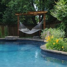 Pergola Hammock Ideas And Plans Decorating a pool house and . Pergola Hammock I Backyard Hammock, Outdoor Hammock, Outdoor Pool, Backyard Landscaping, Hammock Ideas, Backyard Ideas, Landscaping Ideas, Pergola Ideas, Pool Ideas