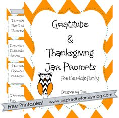 Gratitude Thanksgiving printable prompts mini pack FREE - We have been using this at dinner time and taking turns sharing even our 2 year old joins in. Simple and meaningful! Thanksgiving Countdown, Thanksgiving Traditions, Thanksgiving Activities, Thanksgiving Crafts, Journal Jar, Gratitude Jar, Holidays With Kids, Happy Fall, Fall Halloween