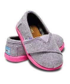 Take a look at this Gray & Pink Mini Herringbone Classics - Tiny by TOMS on #zulily today!