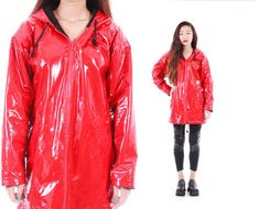 Cherry Red PVC Raincoat Hooded Long Slicker Insulated Warm Wet Weather 80s 90s Vintage Outerwear Womens Size Small Medium from KatrajinaCo. Saved to KCO.