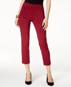 Alfani Petite Tummy-Control Pull-On Capri Pants, Created for Macy's - Red 12P