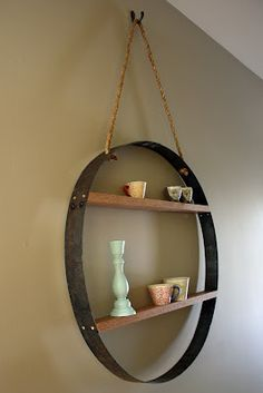 Whiskey barrel stave with narrow shelves added. What a cleve idea. Wine Barrel Crafts, Wine Barrel Rings, Barrel Projects, Wine Barrel Furniture, Diy Furniture, Automotive Furniture, Automotive Decor, Handmade Furniture, Rustic Furniture