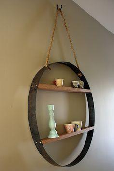 Whiskey barrel hoop shelf                                                                                                                                                                                 More