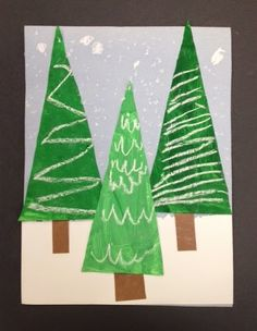 My Grade One class made these patterned evergreen trees today. I am loving how they look clustered together on my bulletin board. This was actually a 2 day project. We spent the first session mi Christmas Tree Art, Christmas Arts And Crafts, Preschool Christmas, Xmas Trees, Winter Art Projects, School Art Projects, Easy Art For Kids, Kindergarten Art Lessons, Evergreen Trees