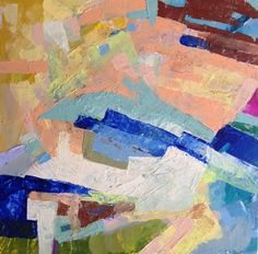 """""""Terabithia"""" abstract painting 14"""" x 14"""" x 2"""" on birch wood panel. Jenny Vorwaller"""