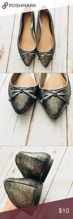 Antonio Melani Pointed Toe Flats Gorgeous pewter color, small signs of wear but with the color it makes it very hard to tell, it blends in. Cute bows and such a comfy fit! ANTONIO MELANI Shoes Flats & Loafers